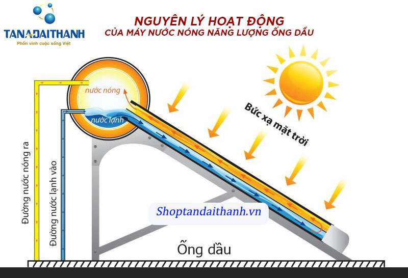 Nguyên lí hoạt động của máy nước nóng năng lượng mặt trời ống dầu
